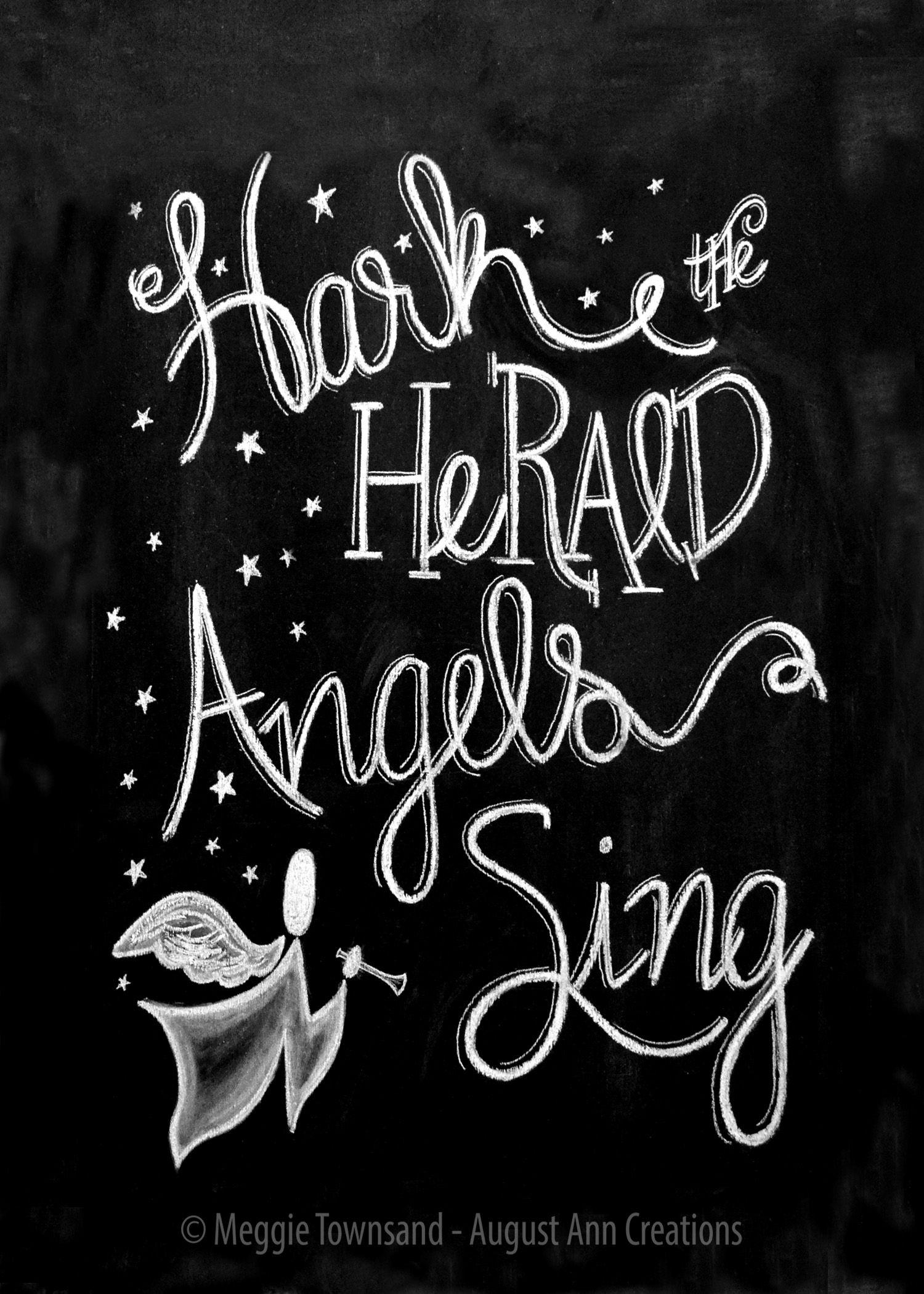 Hark The Herald Angels Sing Christmas Chalkboard