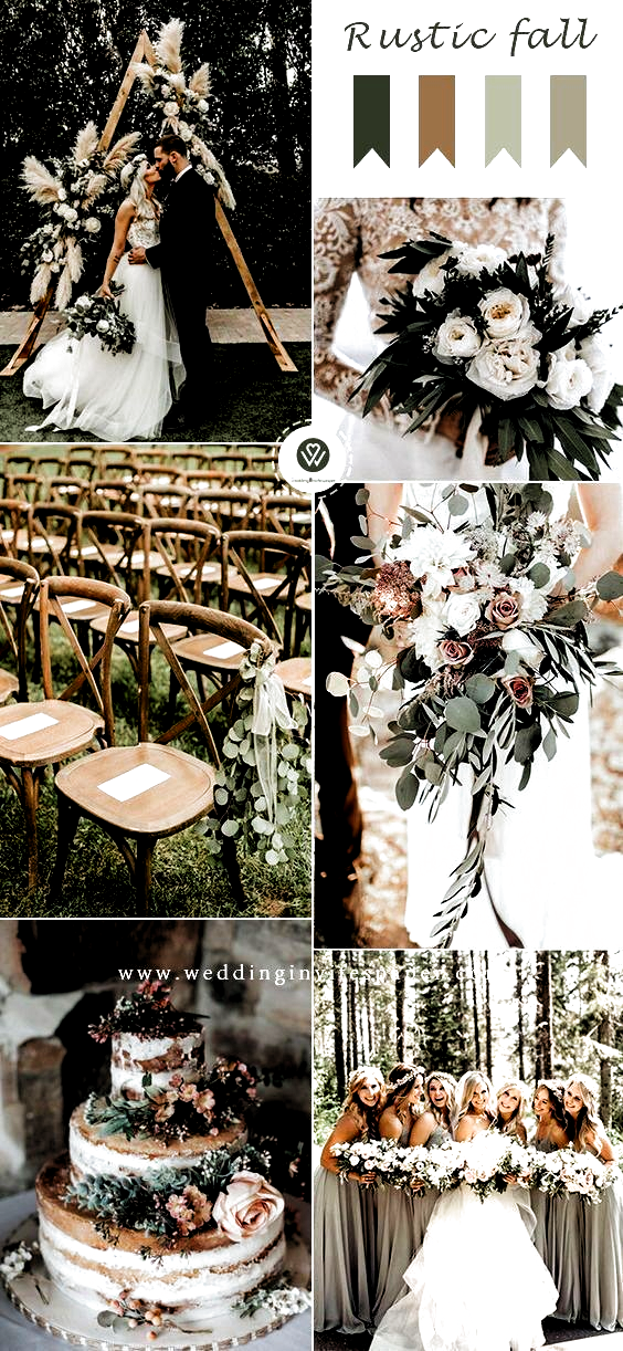 Top 9 Fall Wedding Color Schemes For 2019 Sage Green Rustic Weddings Wedding 2019s In 2020 Fall Wedding Color Schemes Green Wedding Colors Rustic Wedding Colors