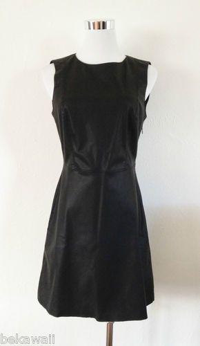 NWT ZARA ROUND NECK DRESS FAUX LEATHER BLACK SIZE M