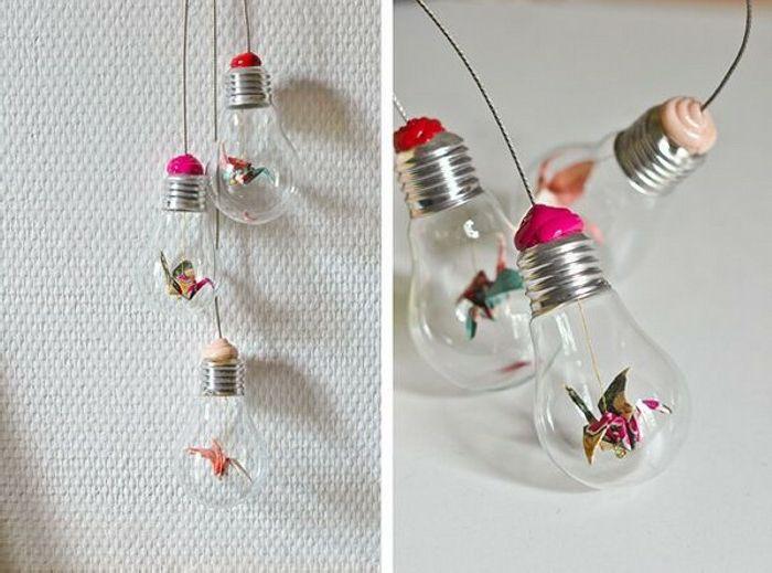 Hängende Wanddeko hängende wanddeko aus birnen und origami figuren | diy deko ideen