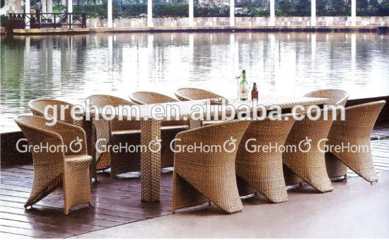 Largo de ratán mesa de comedor y sillas para 10 plazas muebles de ...