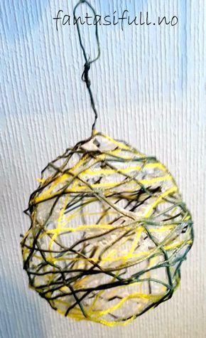 garnkule ballong fantasifull barnehage aktivitet forming barn barna lage med finne på gøy artig samarbeid pynt dekorasjon