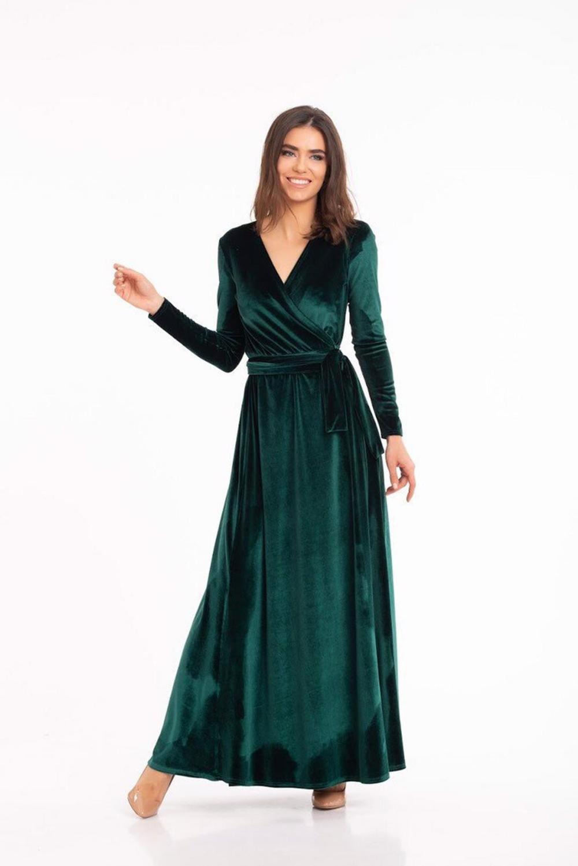 Green Wrap Dress,Velvet Wrap Dress,Long Sleeve Dress,Boho Gown