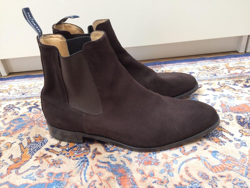 ED MEIER Brown suede ankle boots mens