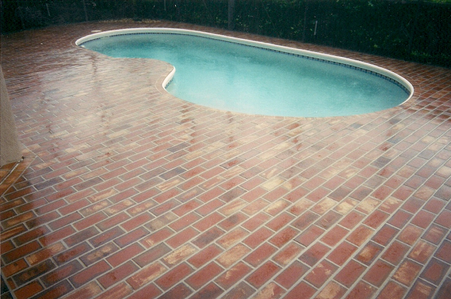 4x8 W 450 Wine Red Flash Thin Brick Paver Pool Deck Installation In Tampa Florida Building A Deck Brick Pavers Deck Installation
