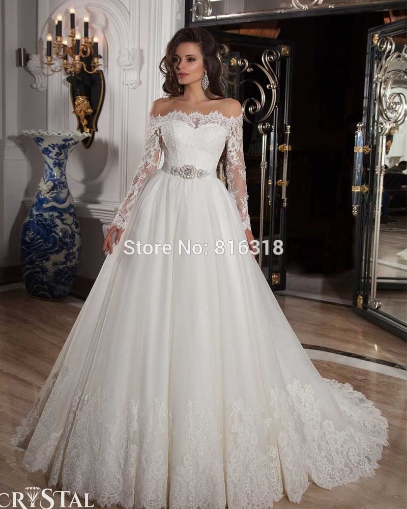 Vestido De Noiva Manga Longa Sexy Ball Gown Country Style Wedding ...