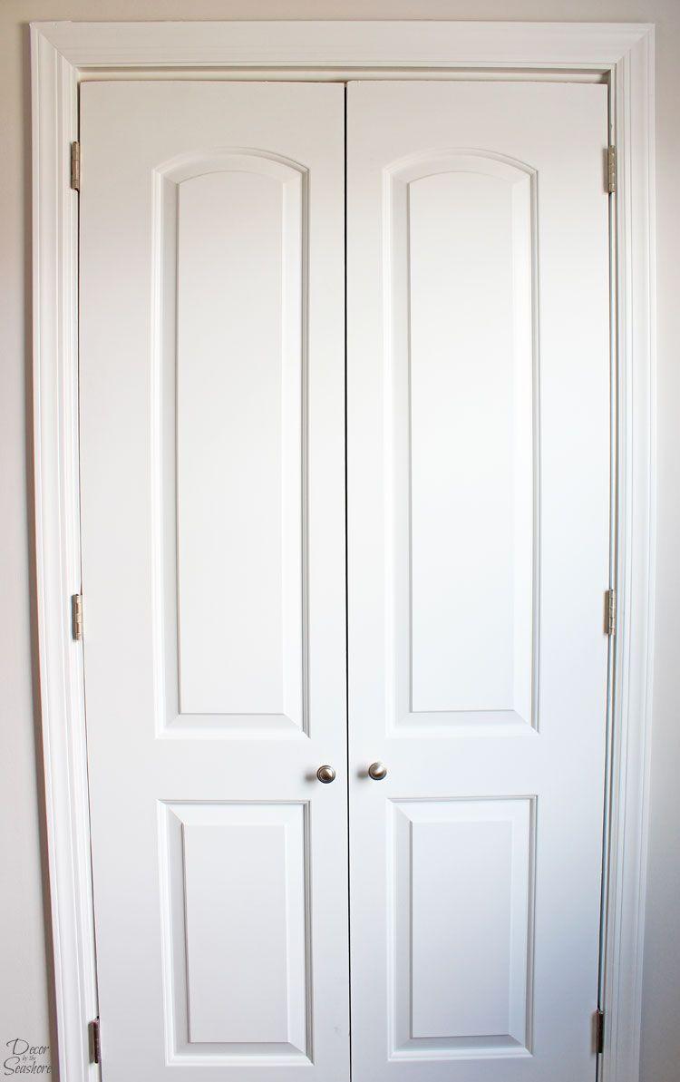 How To Turn A Bi Fold Door Into French Doors Diy Closet Door Makeover Diy Closet Doors Closet Door Makeover Folding Closet Doors