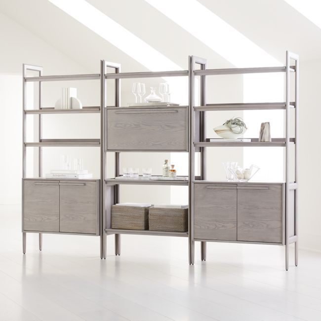 Tate Stone Bookcase Bar with 2 Bookcase Cabinets   Crate and Barrel