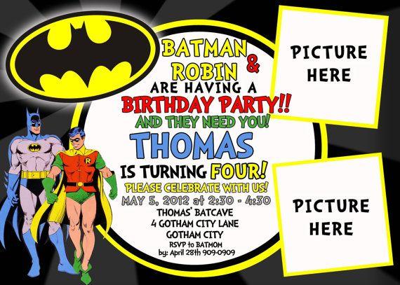 Batman Robin Birthday Invitation By Asapinvites On Etsy 12 00