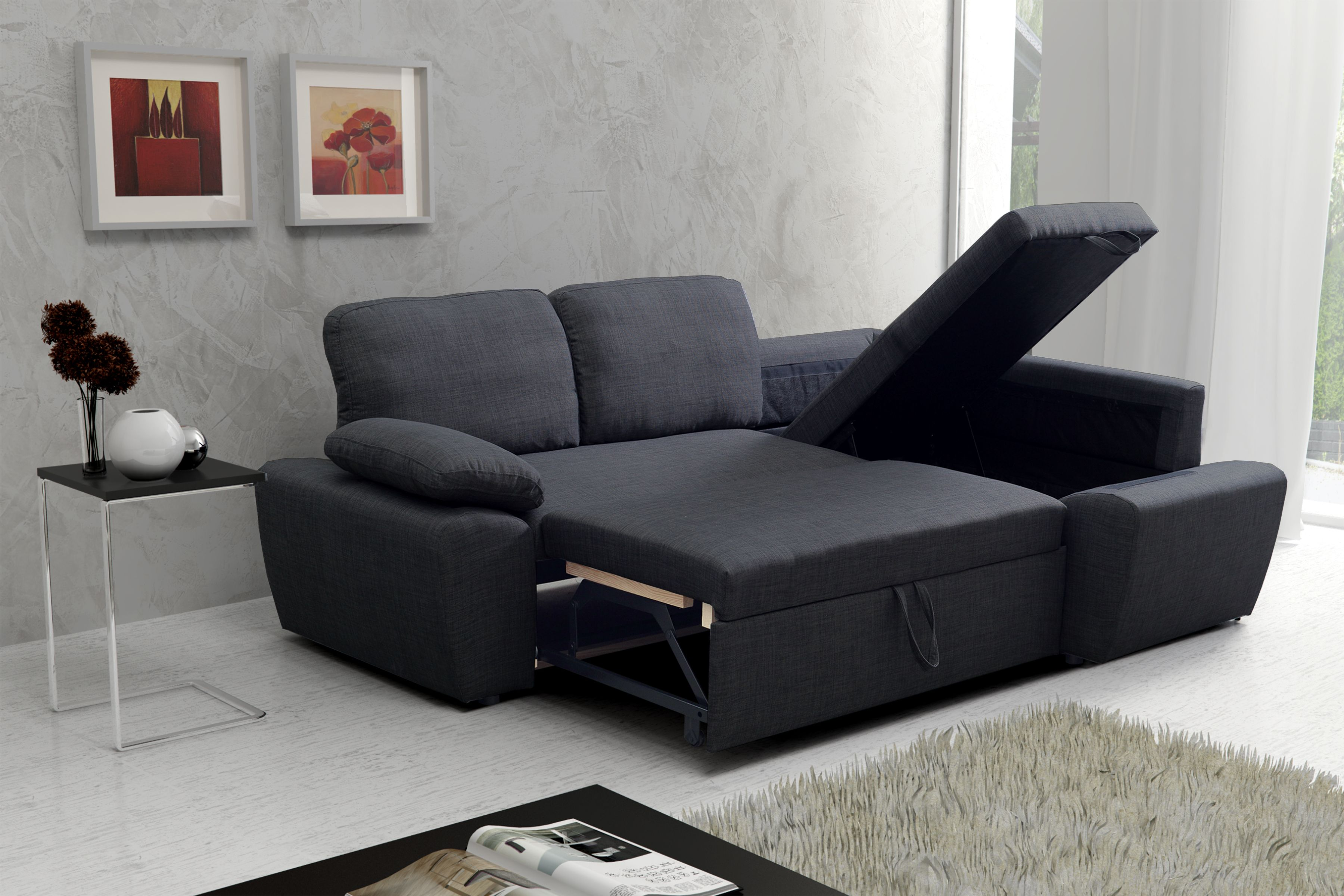 New Modern Enzo Luxury Linen Fabric Corner Storage Sofabed Right Charcoal Grey Corner Storage Luxury Linen Sofa Bed