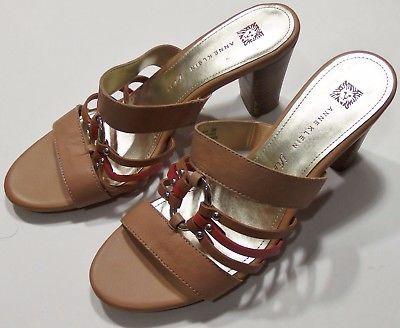 c012d06479 Anne Klein iFlex Women s AK Orian Heels Open Toed Sandal Shoes Size 9 Brown