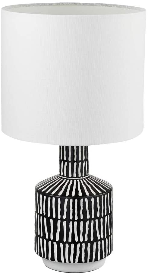 Globe Electric 67620 Aria 18 Table Lamp Black Patterned Textured Resin Base White Fabric Shade 5 Foot Clear Cord Socke Fabric Shades Lamp White Desk Lamps