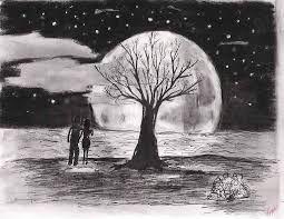 Dibujos A Lapiz Paisaje A Lapiz Dibujos De Noche Arte De Arboles
