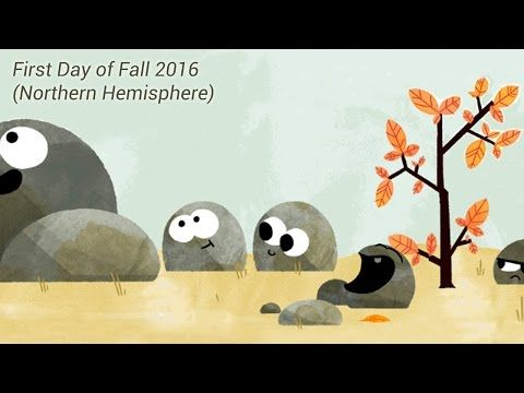 Autumnal Equinox: First day of Fall 2016 (Northern Hemisphere) - Google Doodle VIDEO for September 21, 2016, on YouTube; the day of the year when night and day each last 12 hours #autumnalequinox
