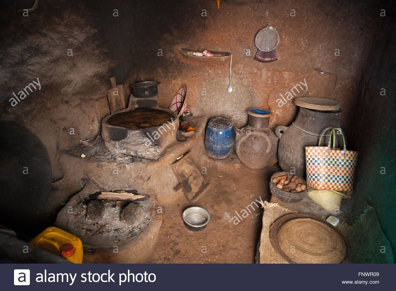 The Kitchen Inside A Mud Hut In The Village Of Bahir Dah Ethiopia