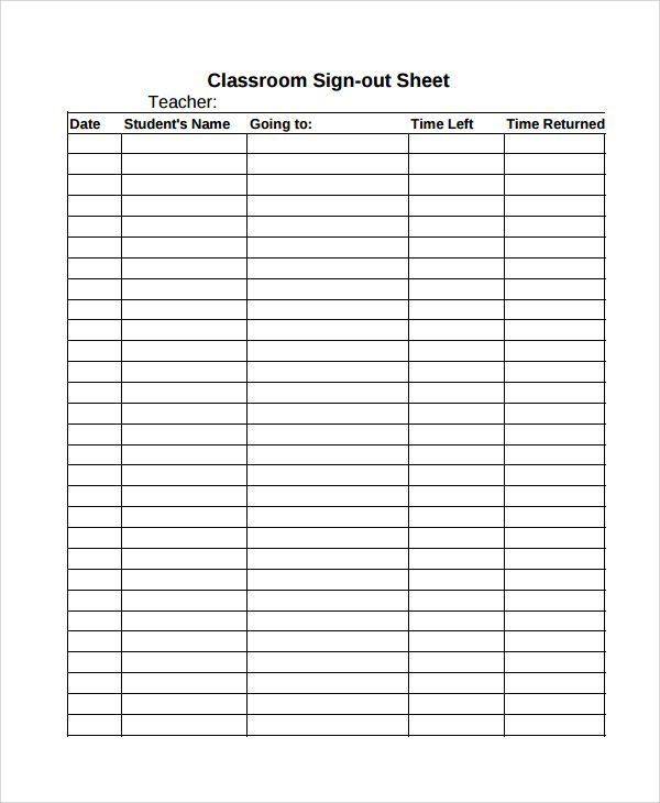 Sample-Classroom-Sign-out-Sheetjpg (600×730) Education - school sign out sheet