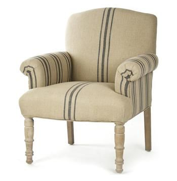 Best Rama French Country Blue Stripe Linen Accent Club Chair 400 x 300