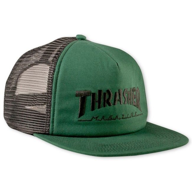 eb90c7aa2 Embroidered Thrasher Logo Mesh Cap Green / Black | Hats to the Max