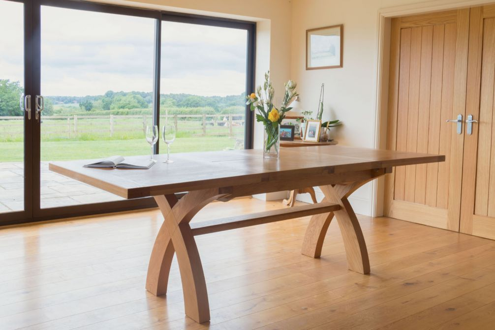 Country Oak 2 8m X Leg Double Extending Large Dining Table