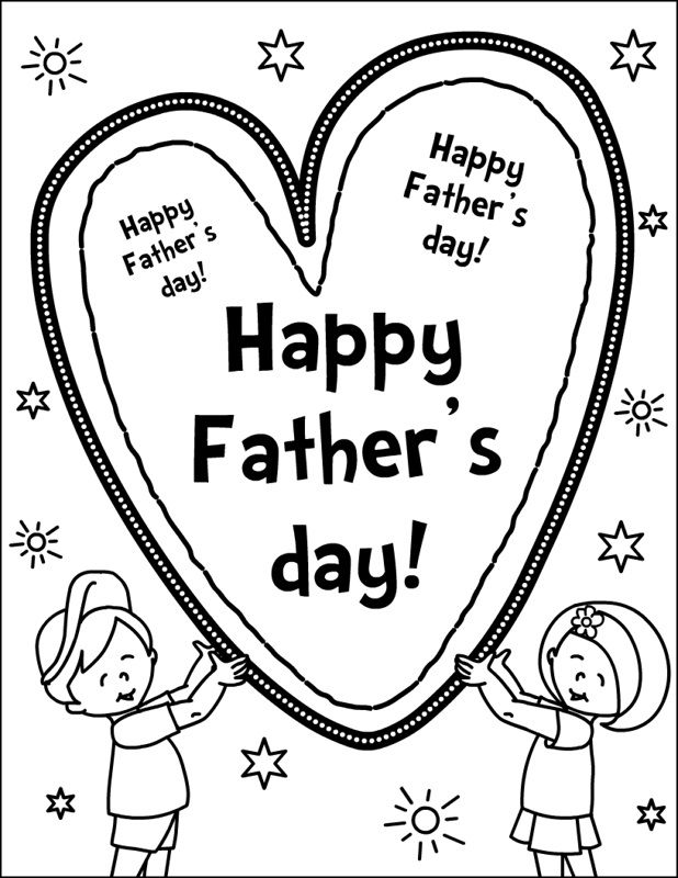 Fathers Day Kids Coloring Page