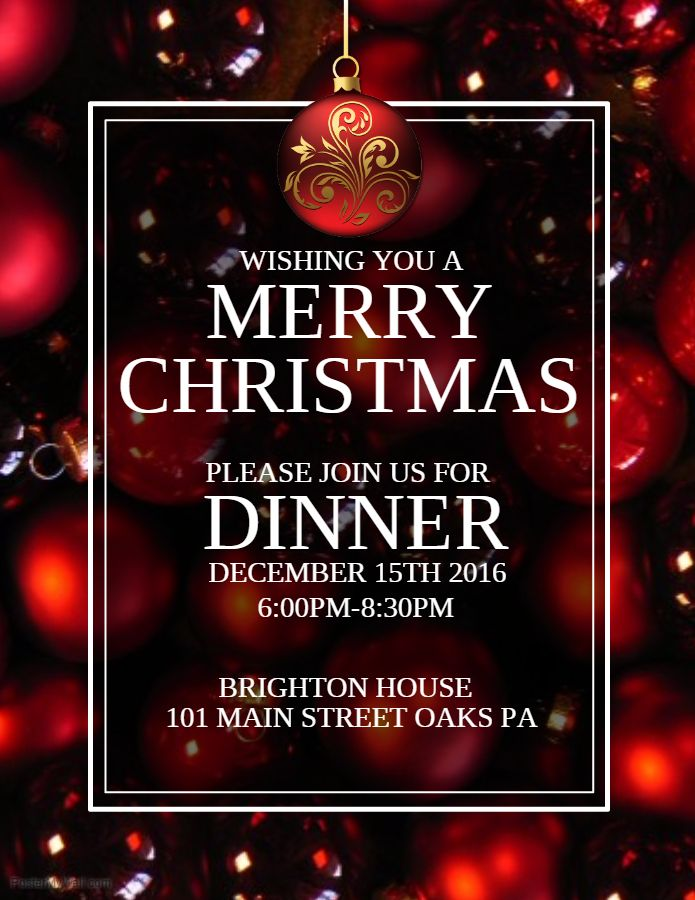 Christmas Dinner Poster Template Christmas Poster Templates - christmas menu word template