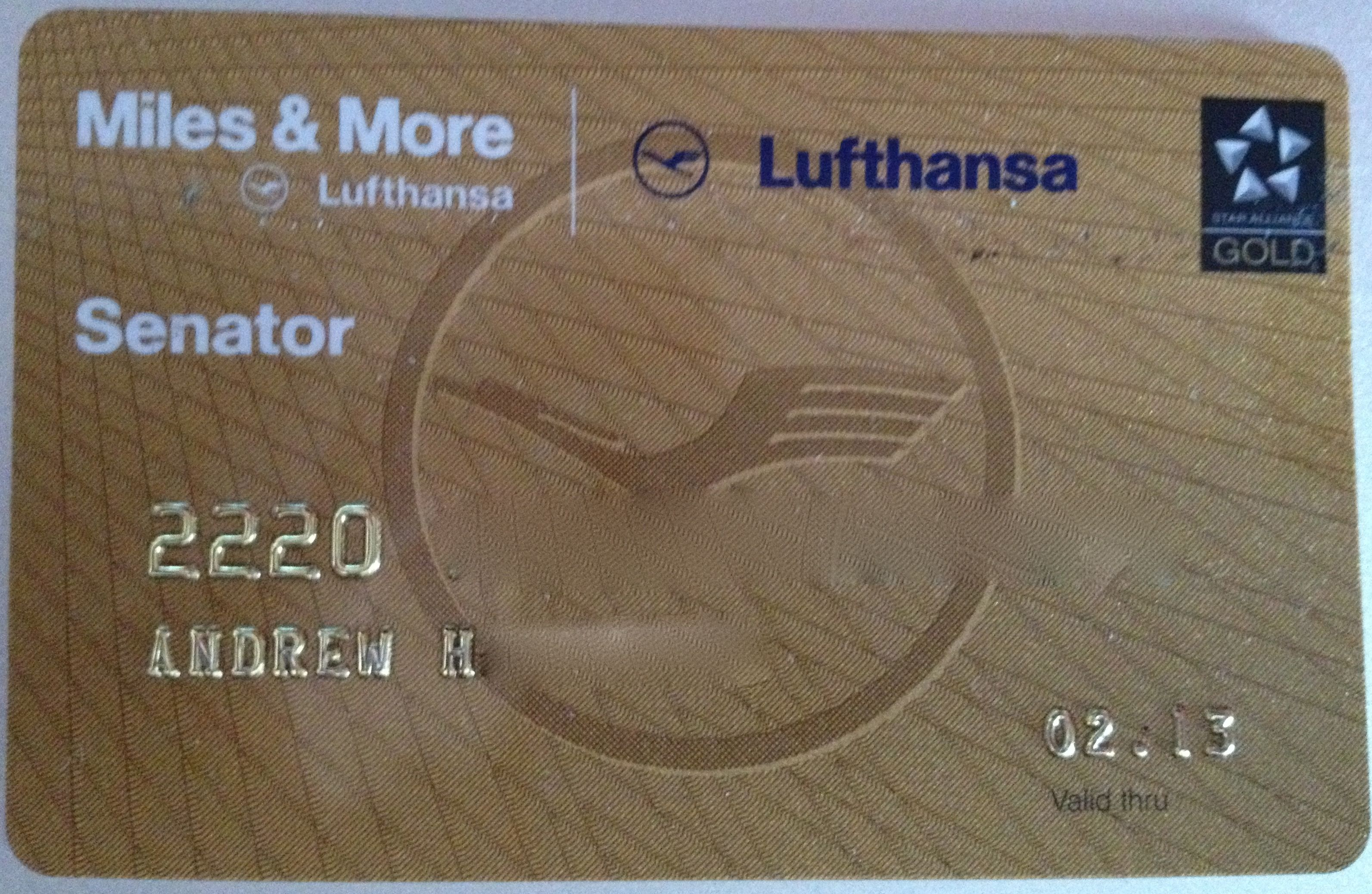 Miles And More Points Lufthansa Miles More Senator Gold Loyalty Card Star Alliance