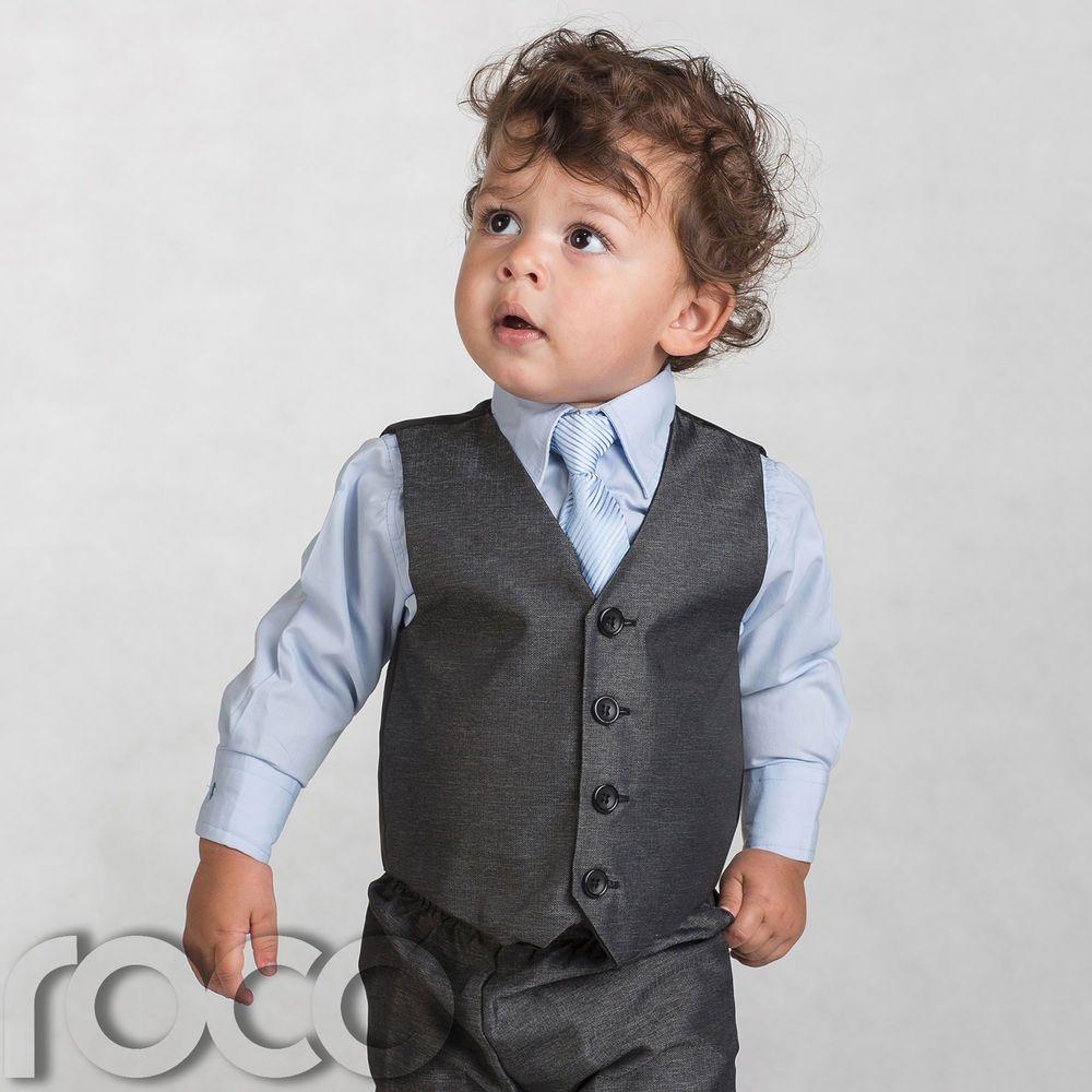 Boys Grey Waistcoat Suit, Baby Boys Charcoal Suits, Boys Wedding ...