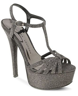 Shimmery Stilettos: Gunmetal + Glitter = Gorge! CHINESE LAUNDRY #platform #sandals #macys BUY NOW!