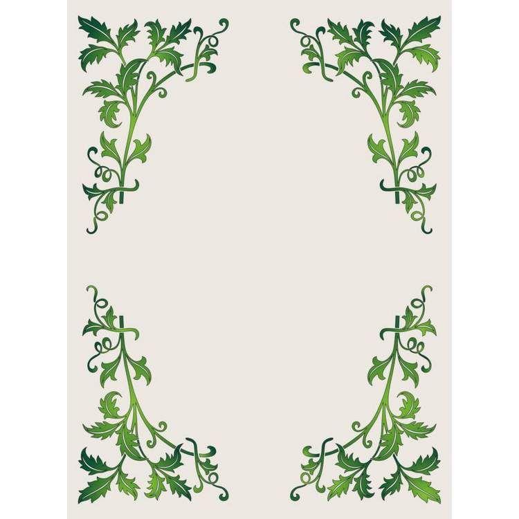 Green Leaves Border Vector Leaf Border Printable Frames Stencil Patterns