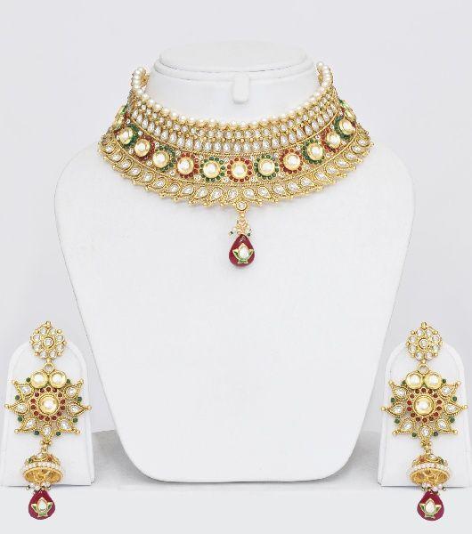 Gold Plated Polki Choker Jewelry Set