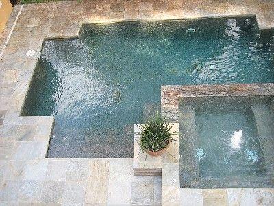 square spa in pool