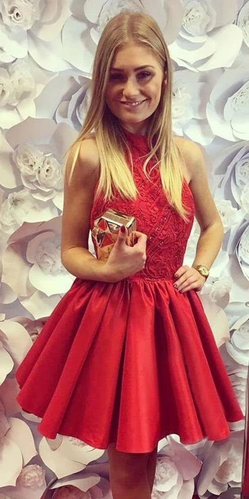 Red Satin Halter Open Back Homecoming Dress with Appliques ...