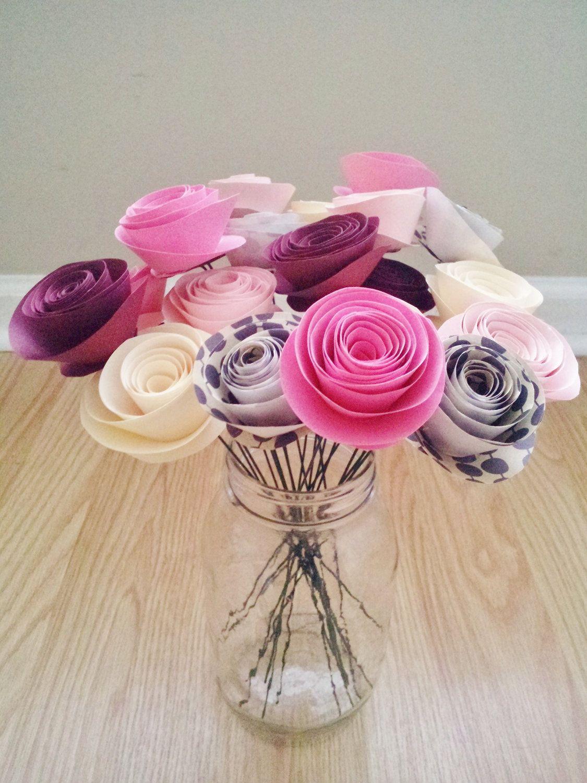 Pink Handmade Rolled Paper Flower Bouquet Pinterest Rolled Paper