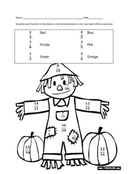 Fall Color By Number Simplifying Fractions Fall Coloring Sheets Pumpkin Coloring Pages Fall Coloring Pages