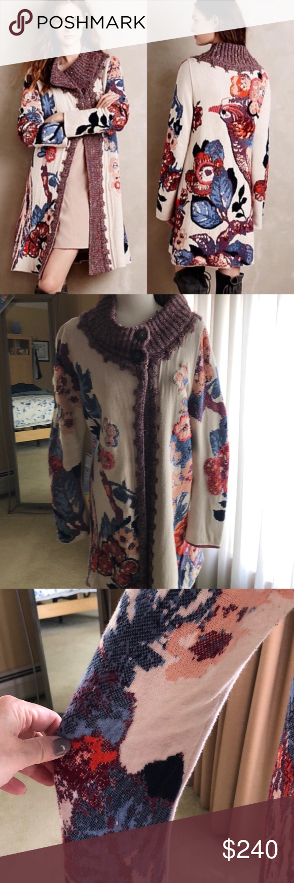 NEW Anthropologie Embroidered Foret Cardigan Sz S Sleeping