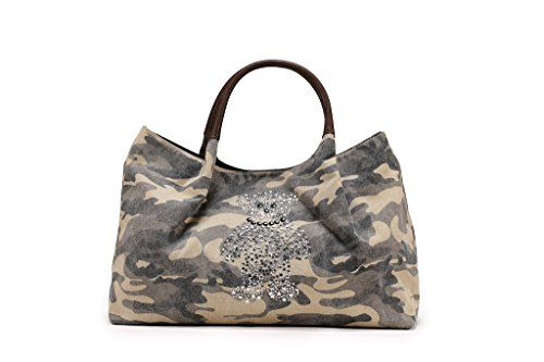 Women s Bulk Teddy Bear Diamond Bling Canvas Tote Shoulder Bag with Leather  Handle f50766d3a4