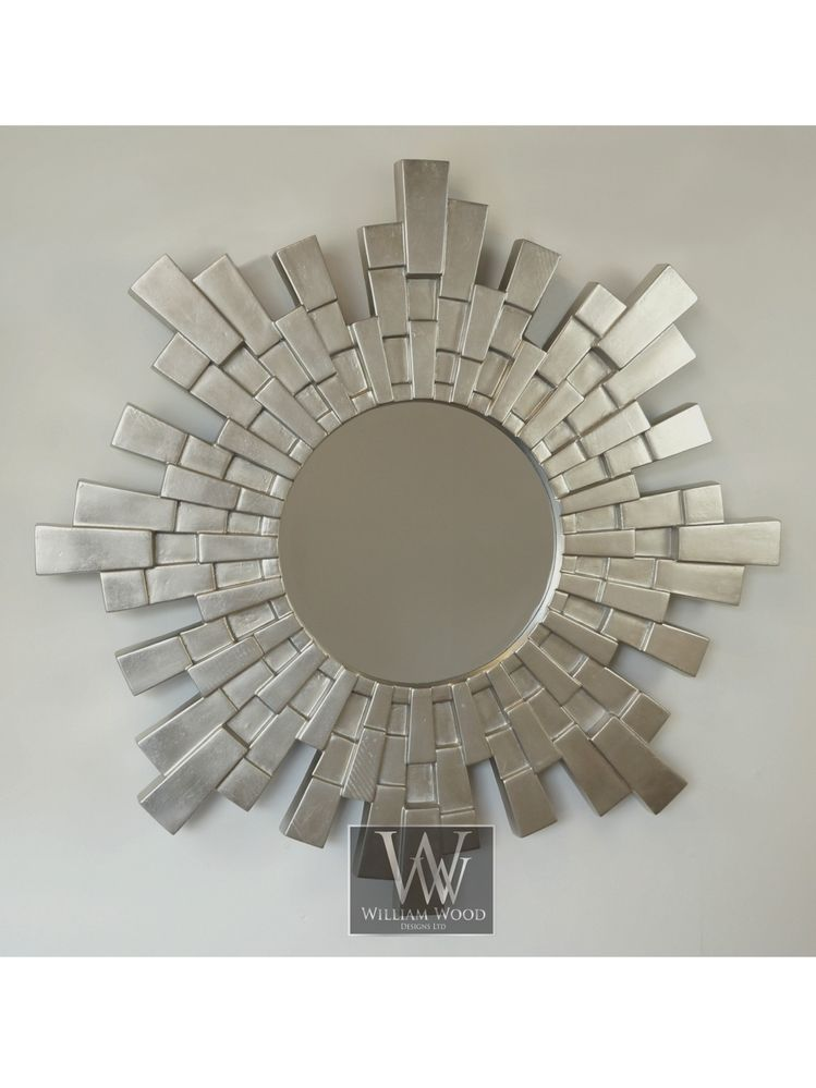Large Silver Wall Mirror constellation large silver round feature wall mirror - 38
