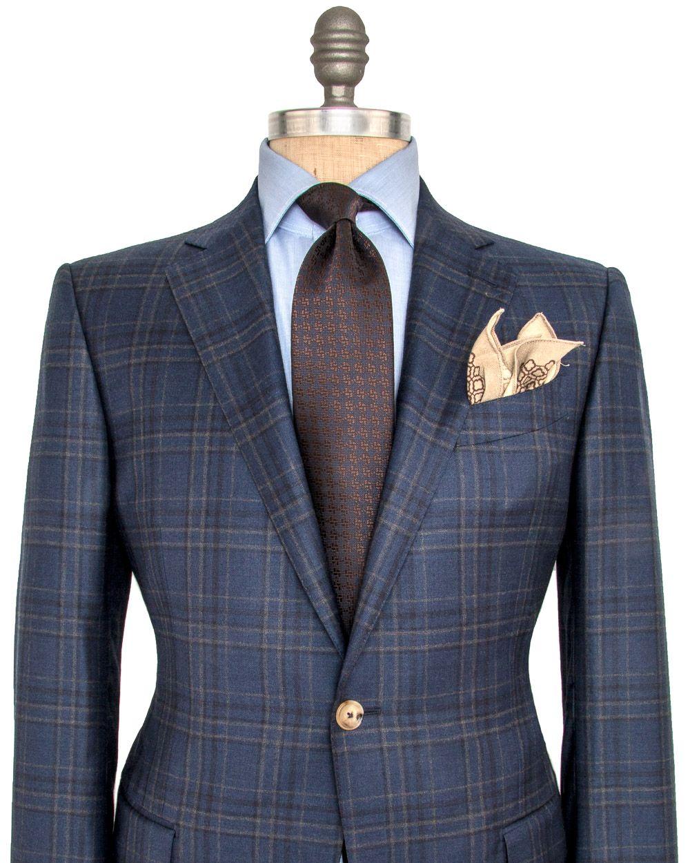 aa1aa52d Ermenegildo Zegna Navy and Tan Plaid Sportcoat 2 button jacket Notch ...