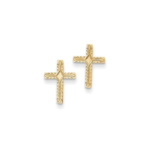14k Yellow Gold Polished Textured Cross Earrings Religious