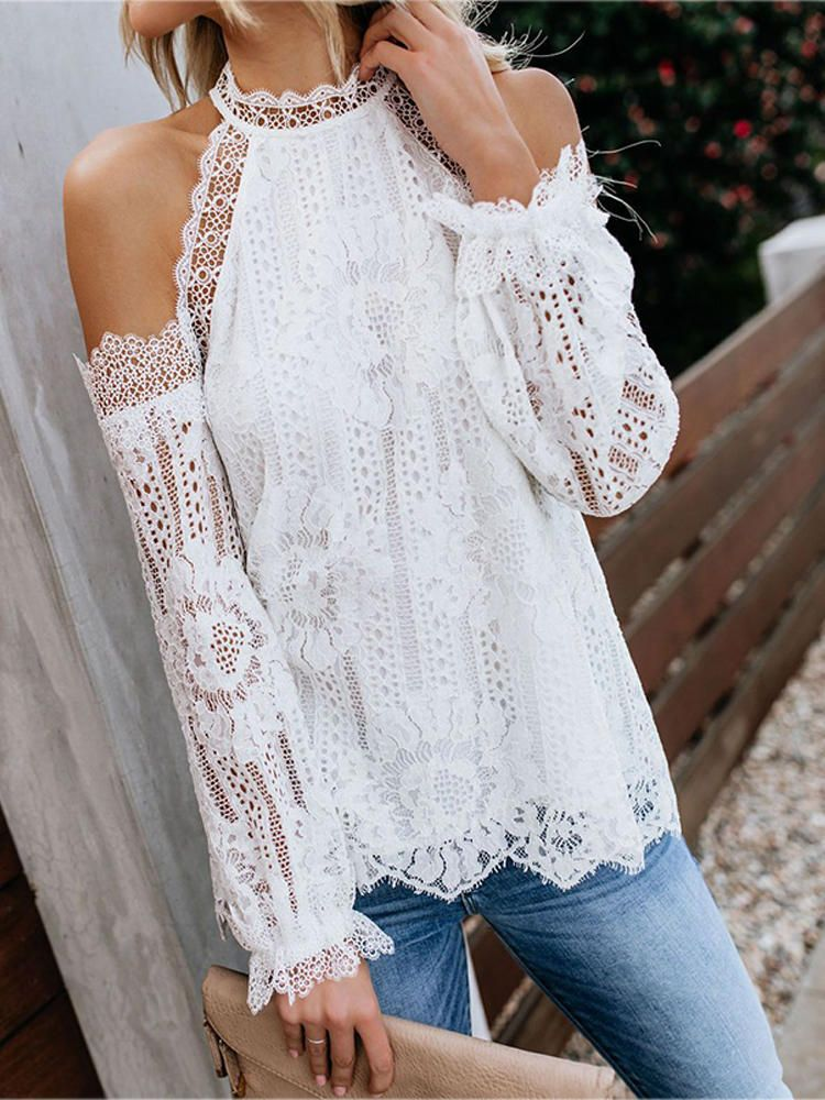 Women Off Shoulder Long Sleeve Lace Crochet Blouse Women S Clothing From Clothing And Apparel On Banggood Com Fashion Crochet Lace Blouse Lace Cold Shoulder Top