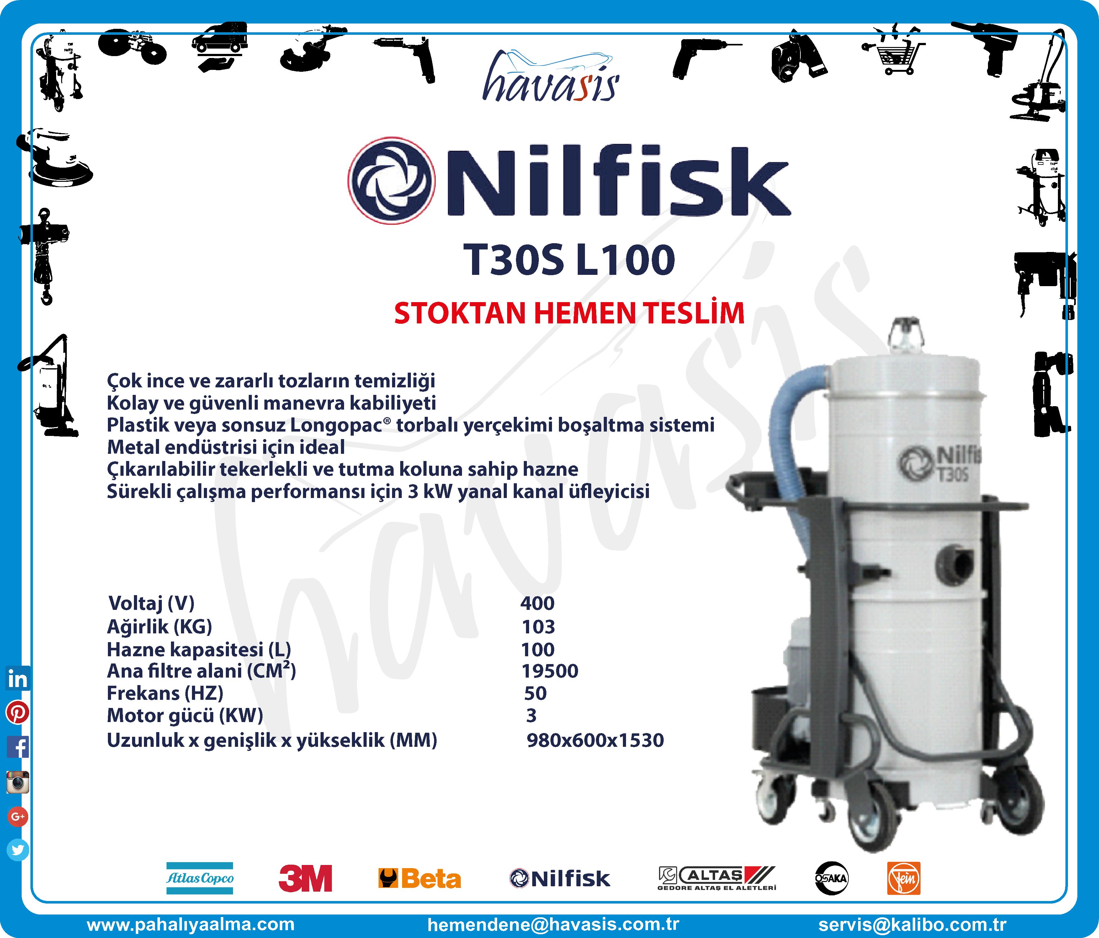 STOKTAN HEMEN TESLİM  #havasis Nilfisk #T30SL100 #kurutipvakummakinesi