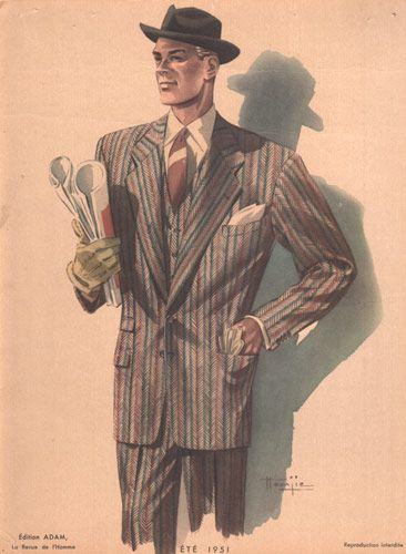 Retro Men Man In Hat 1950s Fashion Print