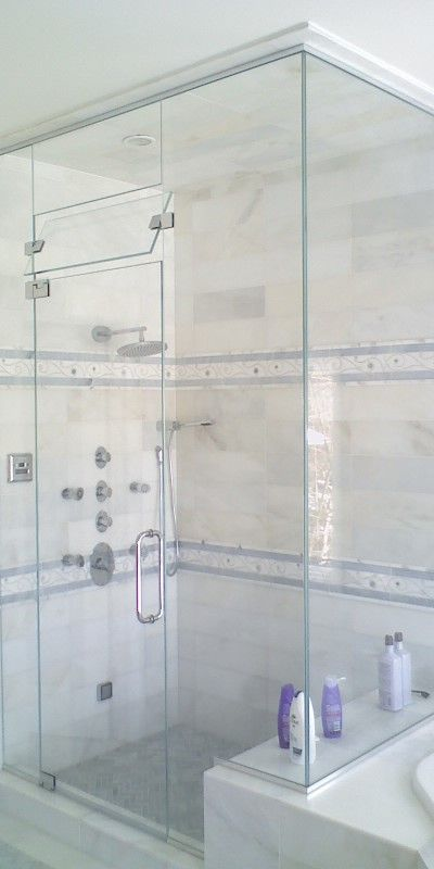 Marble Tiled Ceiling Glass Door With Vent Plain Glass Above Vent