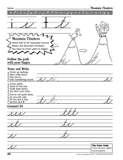 mountain climbers cursive writing made easy and fun parents 3rd 5th grade printables. Black Bedroom Furniture Sets. Home Design Ideas
