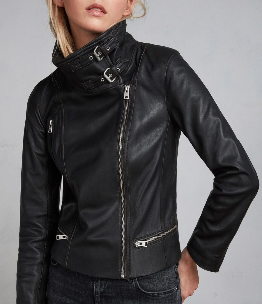 Leather Look Jacket Biker Style Cropped Slim Fit With Buckles /& Zip Black