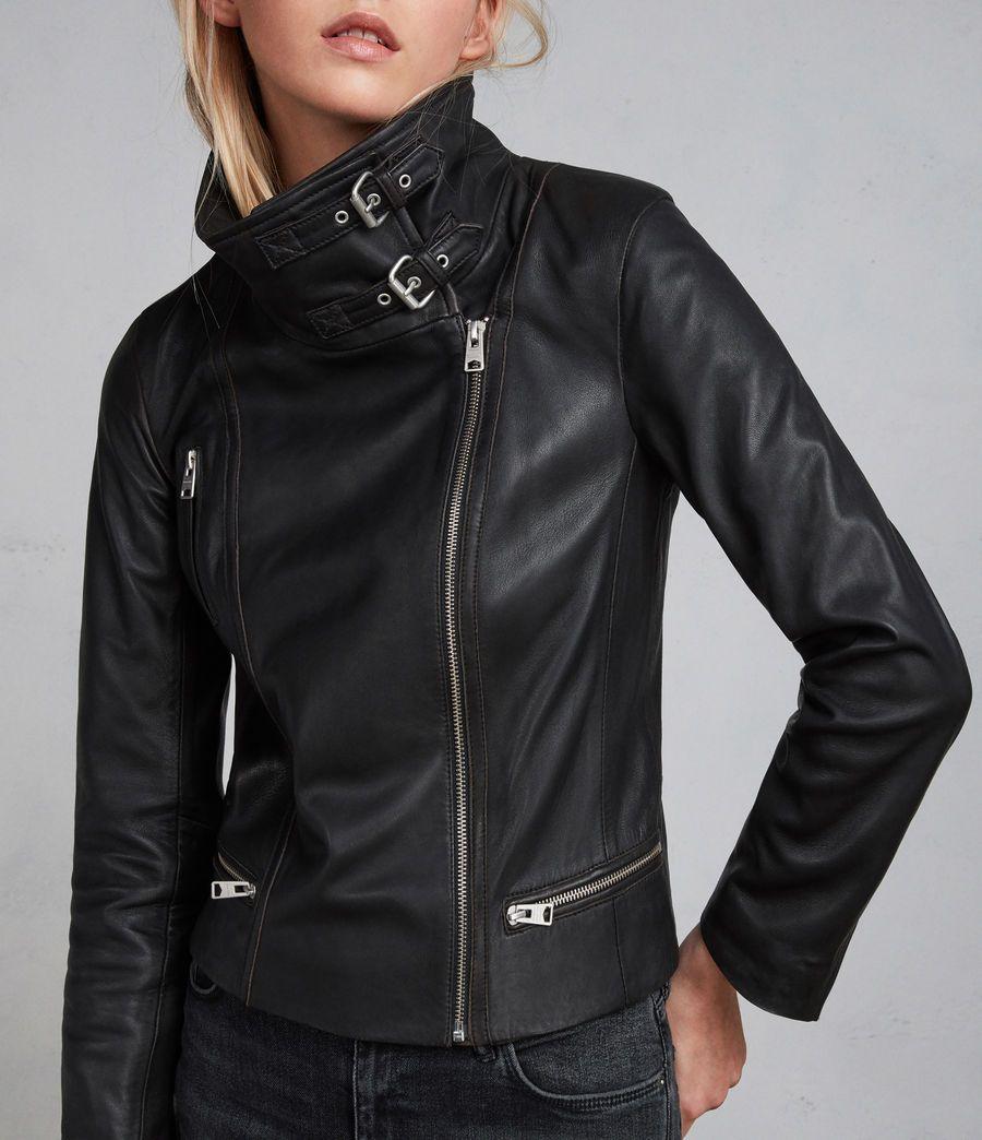 Womens Bales Leather Biker Jacket Black Image 2 Leather Jackets Women Stylish Jackets Jackets [ 1044 x 900 Pixel ]