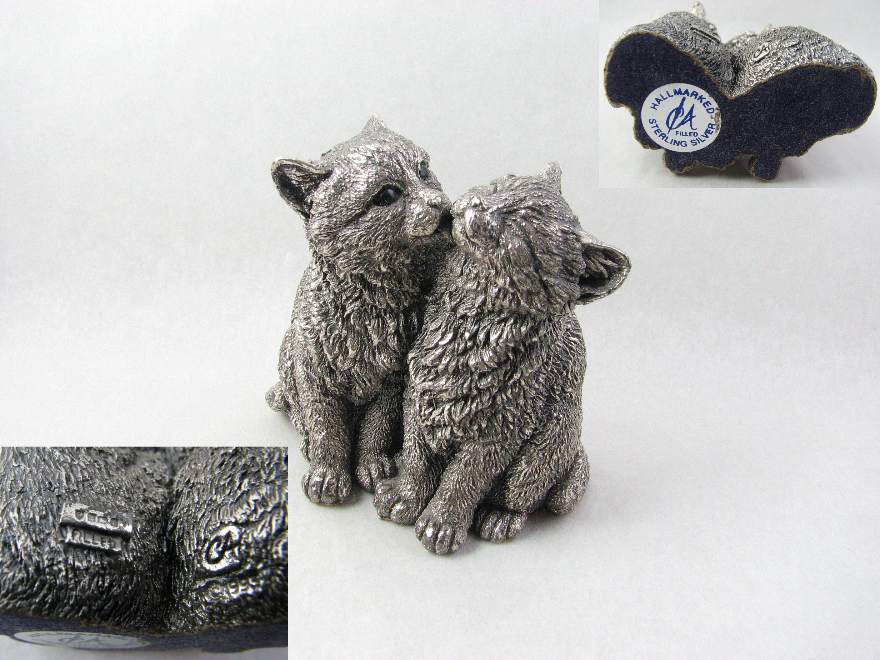 Country Artists Sterling Silver Filled Kittens Grooming Paperweight Birmingham 1995 Labelled And Hallmarked Kitten Grooming Country Artists Antique Metal