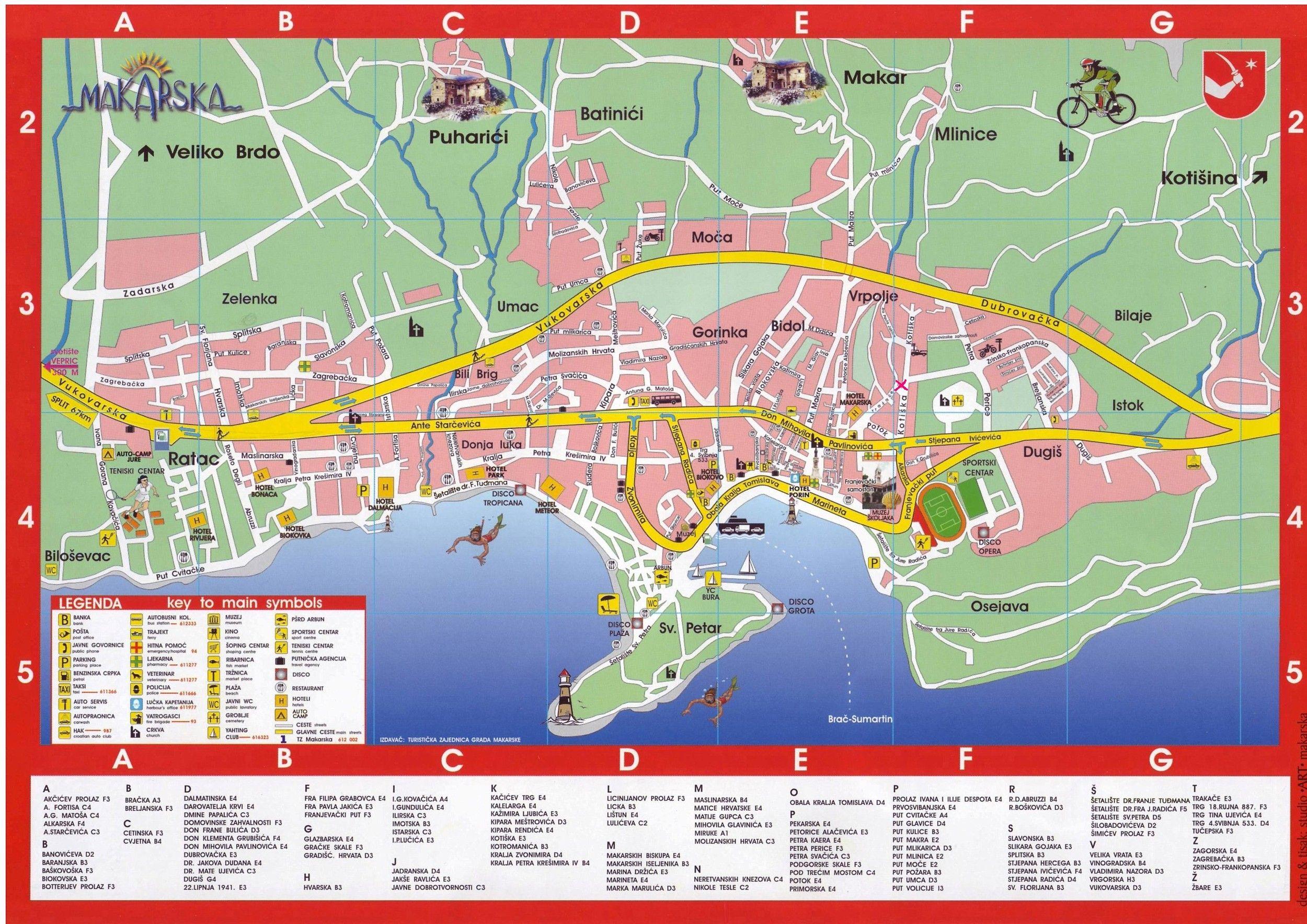 Karte Von Makarska Kroatien Kroatien Makarska Kroatien Karten