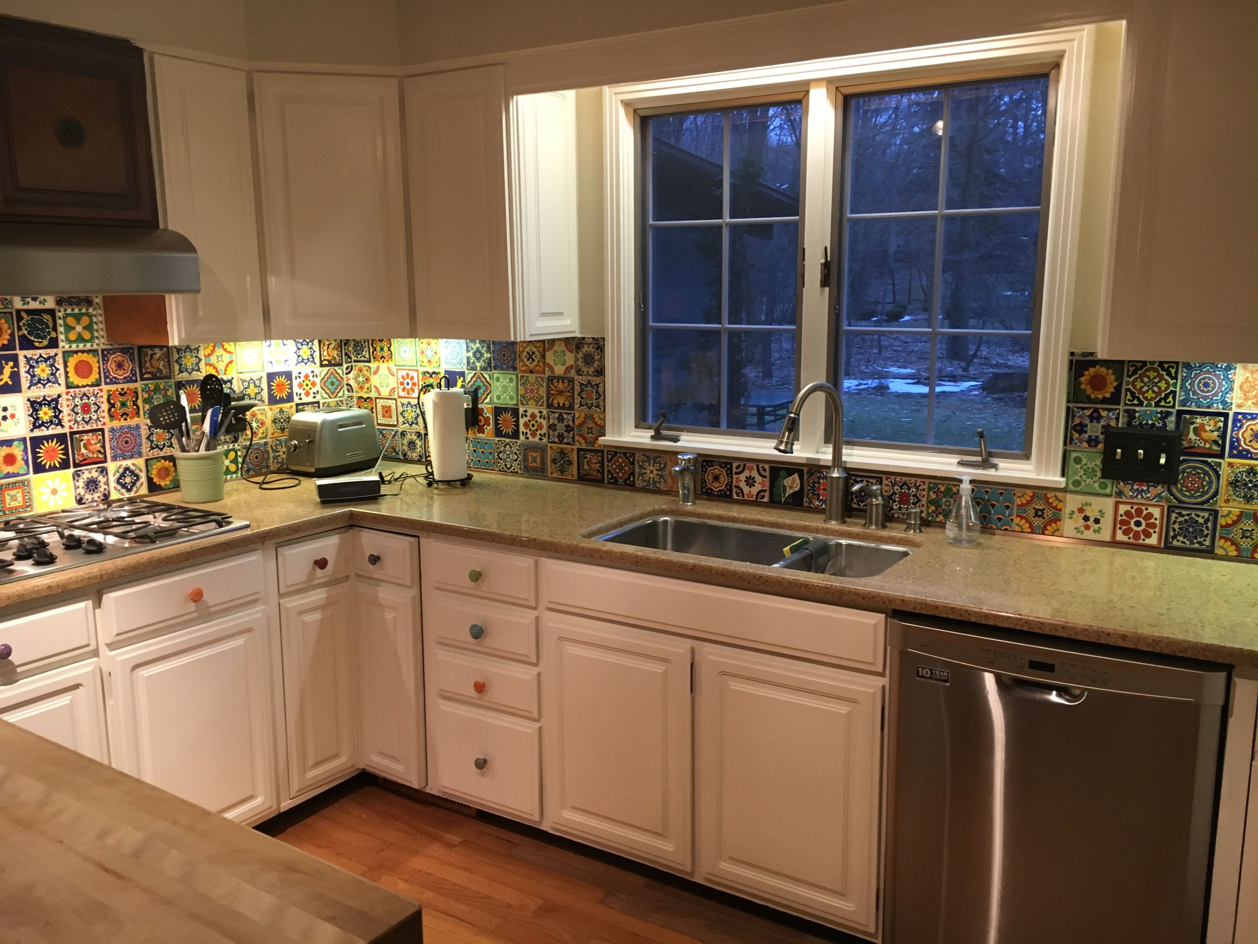 My Mexican Tile Backsplash | Kitchen cabinets, Mexican ...