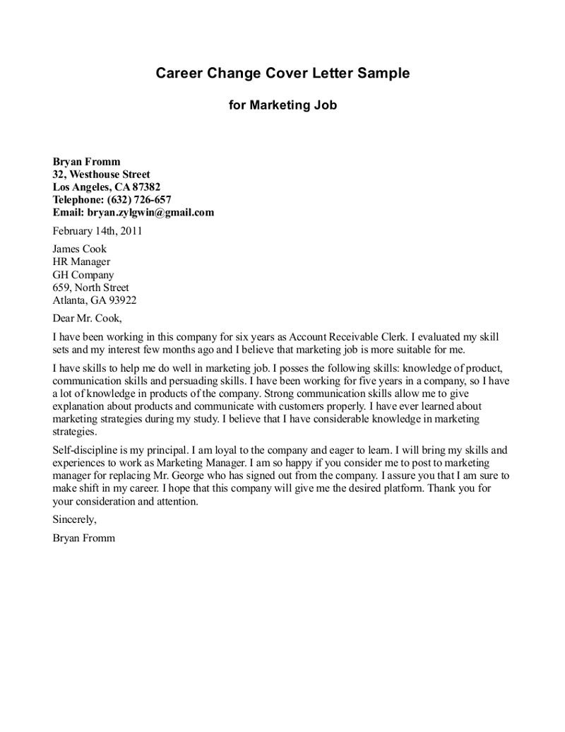 Cover Letter Template Job Change  2Cover Letter Template